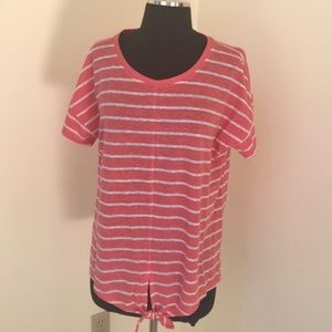 NWT! Talbots Large striped linen blend S/S Top